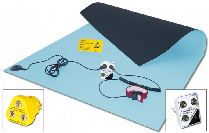 Rubber bench mat kit 90x60cm, with grounding plug