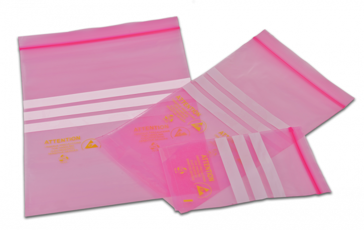 Antistatic protective bags pink with zip closure