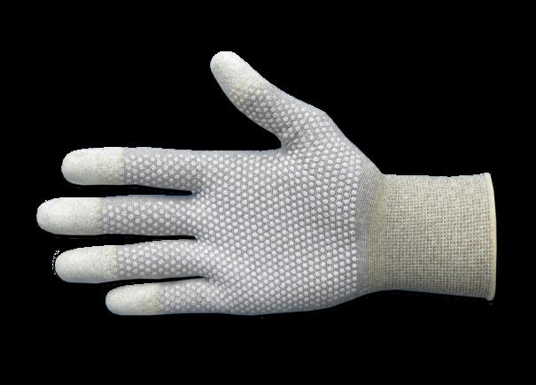 ESD-Handschuhe mit Fingerspitzenverstärkung und Noppen, Pck à 10 Paar