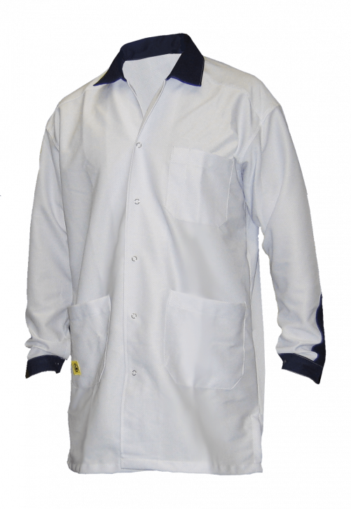 ESD coat, long design, white/royalblue