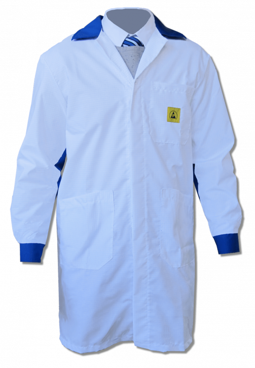 ESD coats, long design, white/royalblue