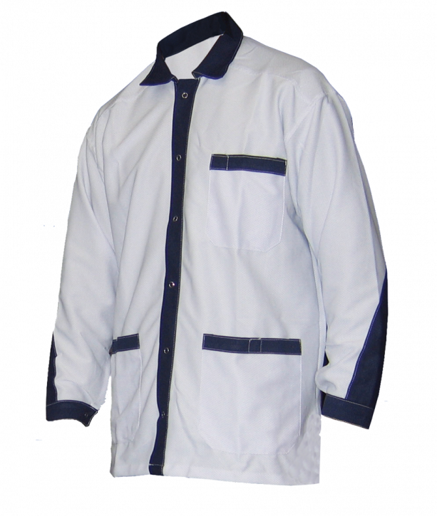 ESD jacket, short design, white/royalblue