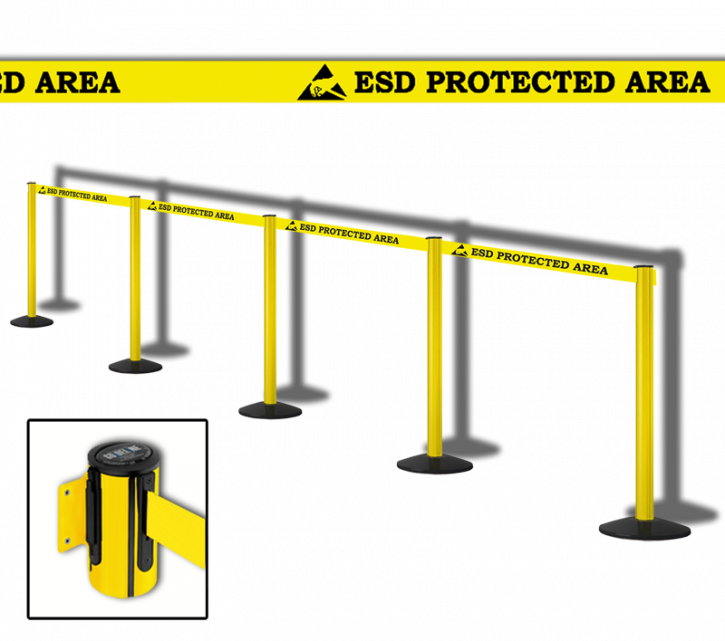 Barrier tape system for ESD protection zones
