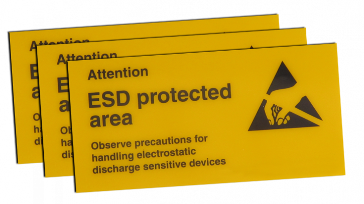 Self-adhesive warning sign, 100x50x0.5mm