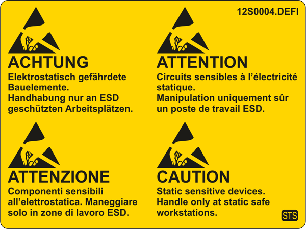 ESD-Warning labels , quadrilingual (G/E/F/I), 80x60mm
