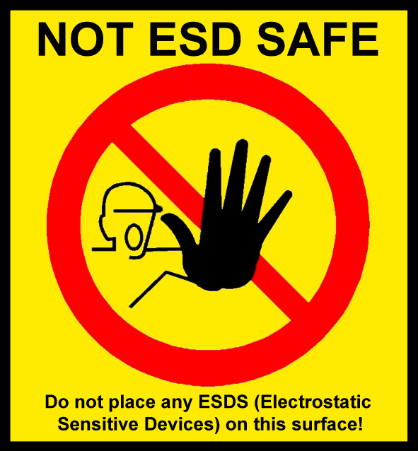 "Warning label ""NOT ESD-SAFE"", 54x50mm"