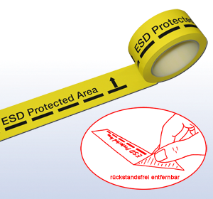 Dissipative marking tape for ESD areas
