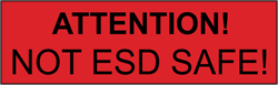 """Label """"NOT ESD-SAFE"""", 46x14mm"""