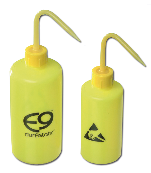 Wash bottle made of durAstatic e9, with angled spout