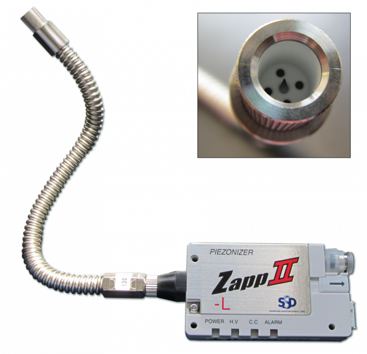 "Ionizing Nozzle ""IonBreeze"" credit card sized with 20cm air supply hose (swan-neck)"