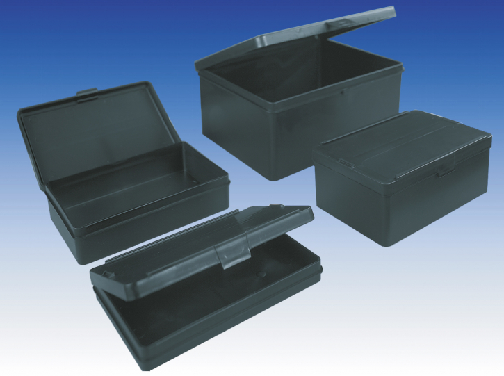 Conductive utility boxes with integral hinged lid
