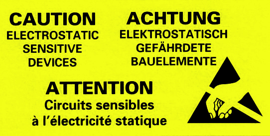 "ESD-Warning labels , ""G/E/F"", 50x25mm"