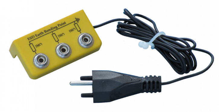 Earth bonding point bars yellow, with Swiss plug
